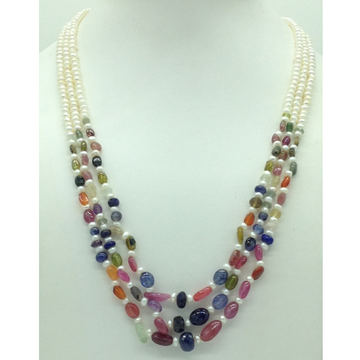 White Flat Pearls with MultiColour Stones 3 Layers...