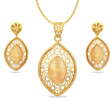 22 Karat, 916 Hall-Marked, Yellow Gold Modern oval cut shaped arabic textured design Earrings And Pendant Set For Women Jkp007