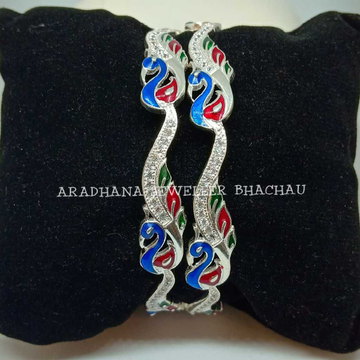 925 Silver Colorful Peacock Design Bangle