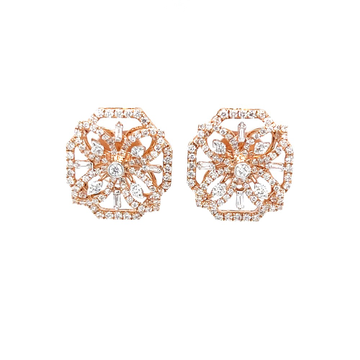 Designer diamond studs in hallmark 18k rose gold 0top194