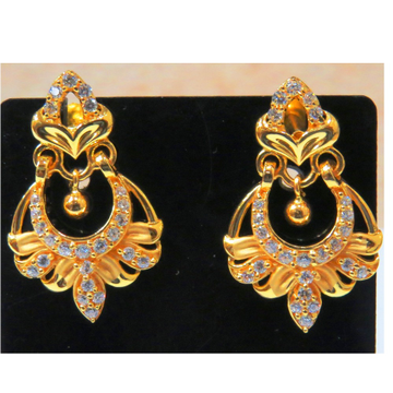 22kt gold cz casting chandbali earrings