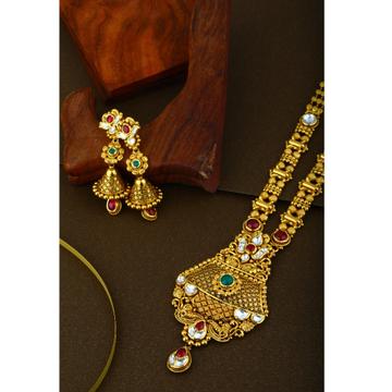 916 CZ hallmark Gold Indian Designer Long Weeding Necklace set