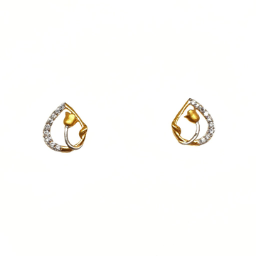 22K Gold Flower Shaped Modern Earrings MGA - BTG0486