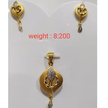 916 gold dul polished pendant set by