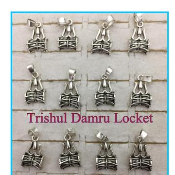 925 Starling Silver trishul Damru Chain Locket RH-925CP011