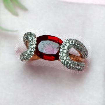 916 Gold Classic Maroon Stone Ladies Ring PJ-R013