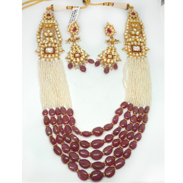 916 Colorful Bead Long Pearl Necklace Set LJ-00