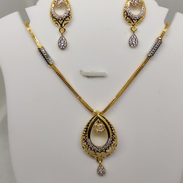 916 cz gold trendy necklace Set  sog-n010 by S. O. Gold Private Limited