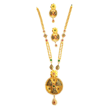 916 Gold Round Shape Checkers Diamond Necklace Set MGA - GLS087