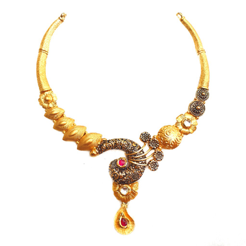 22k Gold Antique Rajwadi Nakkashi Necklace MGA - GN080