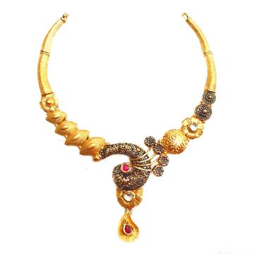 22k Gold Antique Rajwadi Nakkashi Necklace MGA - G...