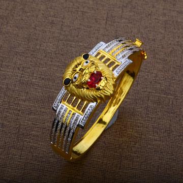 Mens Gold Lion Kada Bracelet-MKB06