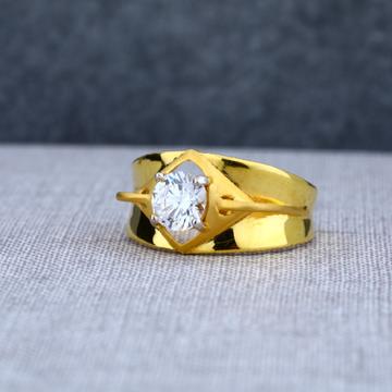 Mens 22ct single stone desinger gold ring-msr02