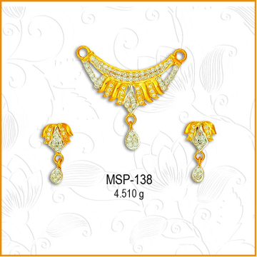 22KT Gold Fancy Lotus Design CZ Mangalsutra Pendant Set MSP-138