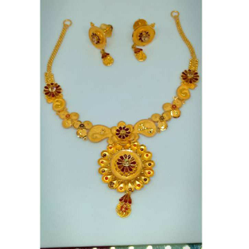 22KT Red Stoned Semi Antique Necklace Set