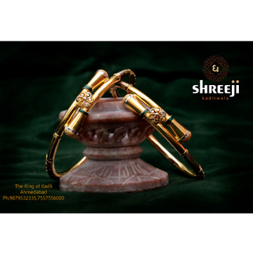 22Kt Gold Classic Ball Pipe Copper Kadli Bangle