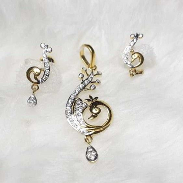 916 exclusive cz peacock pendant set