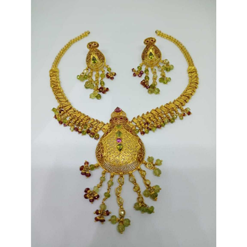 22kt gold indian design necklace set bj-n12