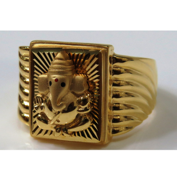 22kt gold casting lord ganesha fitting ring for men gr-13