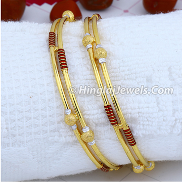 916 Gold Fancy Ball Pipe Copper Bangle HJ-5875