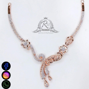 22 carat gold classical daimond necklace set RH-NS543