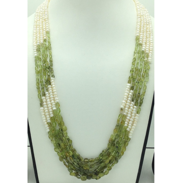 Freshwater White Flat Pearls with Peridots 5 Layer...