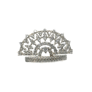 925 Sterling Silver CZ Diamond Cut Queen Shaped Ring MGA - LRS0095