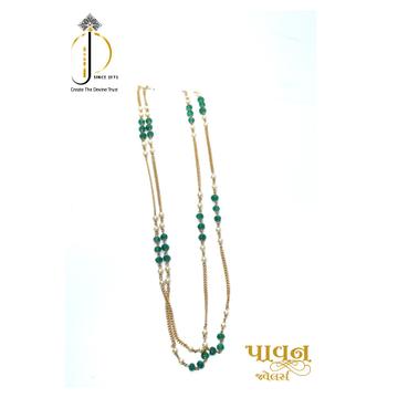 22KT / 916 Gold 2 line green stone With white moti Mala for Ladies CHG0316