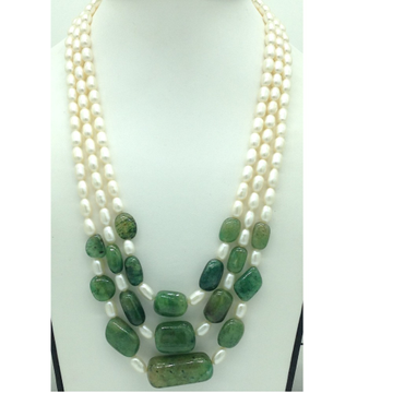 White Oval Pearls with Green Bariels 3 Layers Neck...