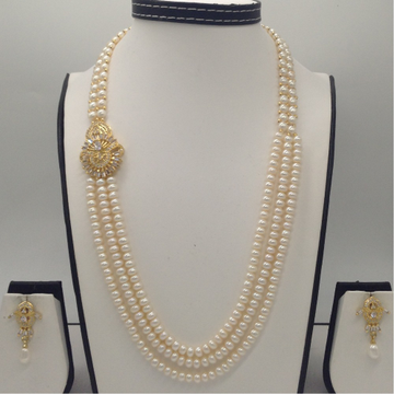 White CZ BroachSet With 2Line ButtonJali And 3 Line Flat Pearls Mala JPS0359