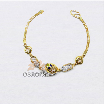 916 Designer Plain Gold Colourful Beaded Ladies Bracelet