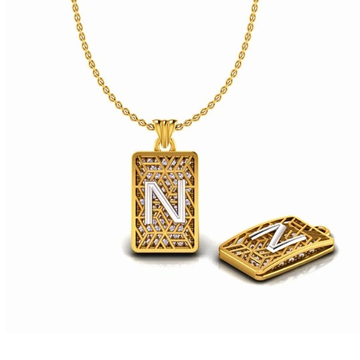 22KT Gold CZ N Alphabet Pendant Chain SO-P008 by S. O. Gold Private Limited
