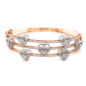 3 Lines with 7 Delicately moving Hearts Diamond Br...