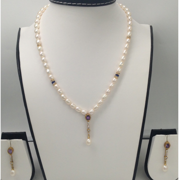 White,Purple CZ And Pearls PendentSet With FlatPearls Mala JPS0048