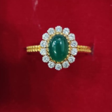 916 Gold Hallmark Trendy Green Stone For Women  by