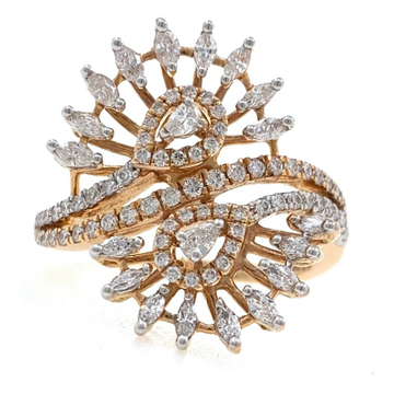 18kt / 750 rose gold floral diamond ladies ring 9lr79