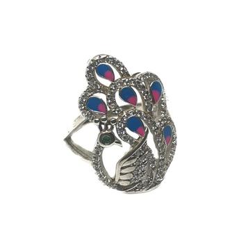 925 Sterling Silver Meenakari Peacock Shape Ring MGA - LRS0094