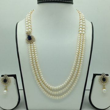 Blue And White CZ BroachSet With 3 Line Flat Pear...