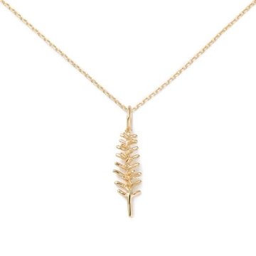 22kt, 916 hm, yellow gold chain with fern pendant for woman jkr154