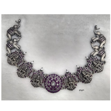 Pure silver temple gulband necklace in goddess gaj...
