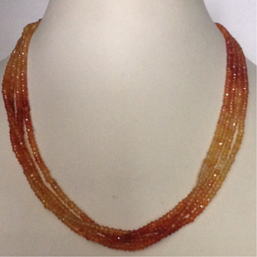 Natural Orange Carnelian Faceted Beeds 4 Layers Necklace