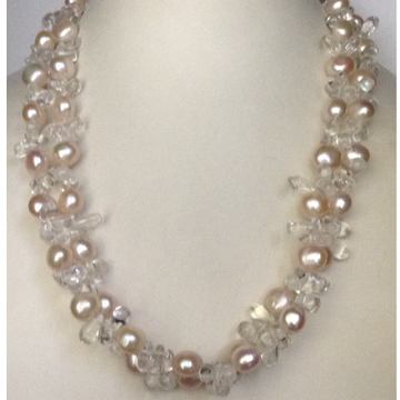 Freshwater Pink Potato Pearls 2 Layers necklace with Sphetic Drops