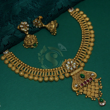 22k antique necklace by Simandhar Jewellers