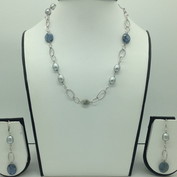 Freshwater Grey Pearls and Lapis Lazuli Silver Cha...
