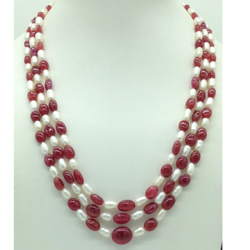 Freshwater White Oval Pearls with Red Ruby 3 Layer...