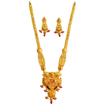 916 Gold Peacock Necklace Set MGA - GLS045