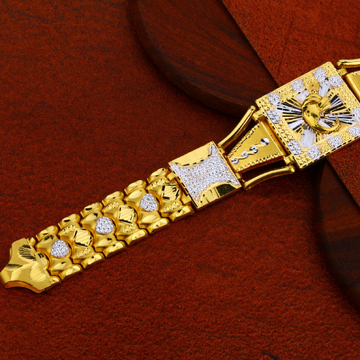 Mens Dye Cutting Gold Bracelet-MDCB01