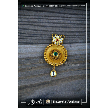 Jadtar Mangalsutra Pendant In Round Shape Woth Veni Work