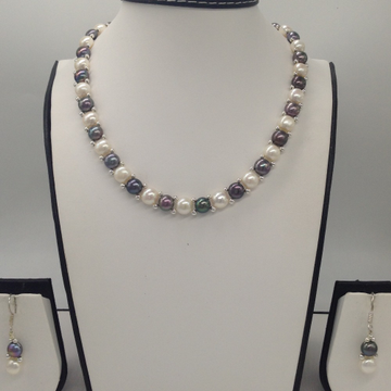 Freshwater White And BlackButton Pearls 1Lines Necklace Set JPP1023