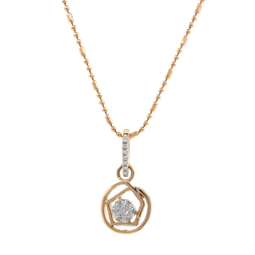 Circle and hexagon design diamond pendant in 18k rose gold 9SHP54